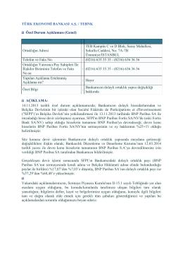 Dolaylı Ortaklık Yapısı, 18 Mart 2014
