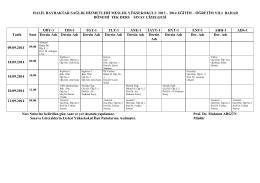 2005 eğitim – öğretim yılı ek sınav çizelgesi