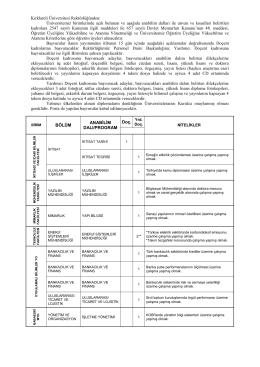 Kırklareli Üniversitesi Rektörlüğünden: Üniversitemiz birimlerinde