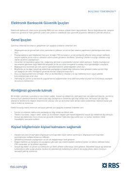 Elektronik Bankacılık Güvenlik İpuçları Genel İpuçları