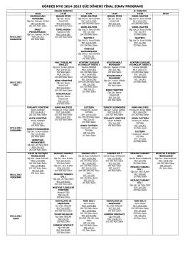 2014-2015 Güz Dönemi Final Programı