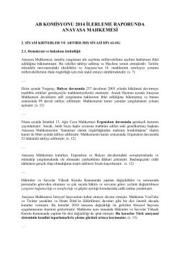 AB Komisyonu 2014 İlerleme Raporunda Anayasa Mahkemesi