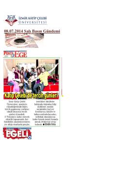 08.07.2014 Salı Basın Gündemi - İzmir Katip Çelebi Üniversitesi