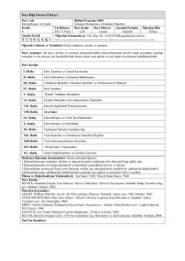 Ders Bilgi Formu (Türkçe) Ders Adı: Küreselleşme ve Emek Bölüm