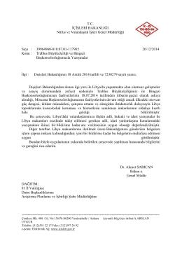 Trablus Büyükelçiliği ve Bingazi Başkonsolosluğumuzla Yazışmalar