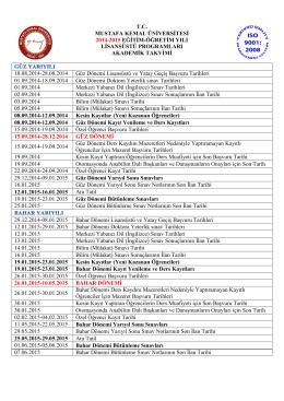 t.c. mustafa kemal üniversitesi 2014-2015 eğitim