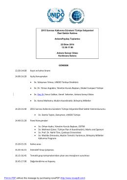 Toplantı Programı - Ankara Sanayi Odası