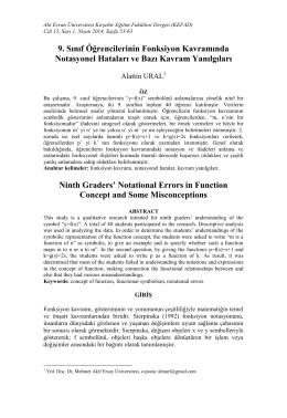 9. Sınıf Öğrencilerinin Fonksiyon Kavramında Notasyonel Hataları