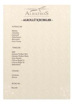 alkollü i̇çecekler - Albatros Restaurant