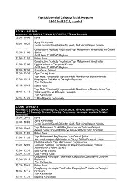 Yapı Malzemeleri Çalıştayı Taslak Programı 19-20 Eylül