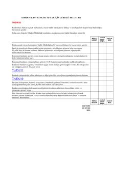 TH/DK/03 Kordon Kanı Bankası Açmak İçin Gerekli Belgeler