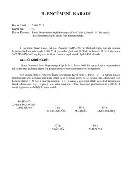 KARAR 46 25.06.2014 Ilimiz Demirozu Bayrampasa Koyunun ifraz