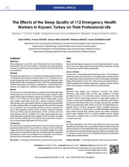 The Effects of the Sleep Quality of 112 Emergency