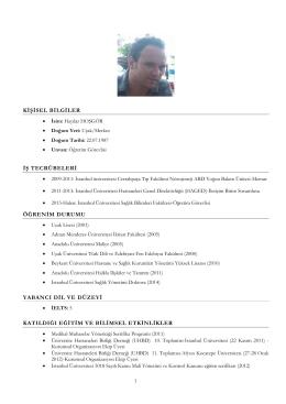 Fotoğraflı CV Formu - Sağlık Bilimleri Fakültesi