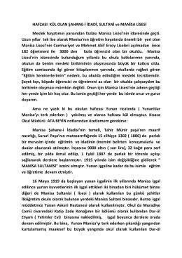 HAFZASI KÜL OLAN ŞAHANE-İ İDADİ, SULTANİ