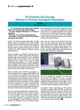 DC kesintisiz Güç Kaynağı, Ethernet ve Profinet