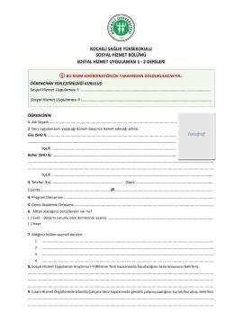 Uygulama Yerleri Tercih Formu - Kocaeli Üniversitesi | Sosyal