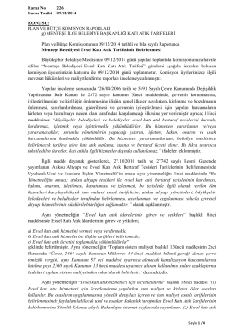 Plan ve Bütçe Komisyonunun 09/12/2014 tarihli ve bila sayılı