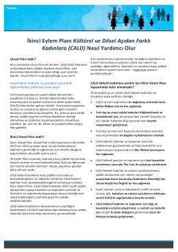 İkinci Eylem Planı Kültürel ve Dilsel Açıdan Farklı Kadınlara (CALD