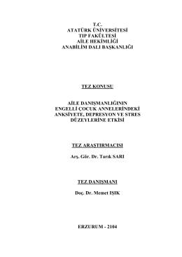uzmanlık tezi çalışması - Atatürk Üniversitesi Tıp Fakültesi Aile