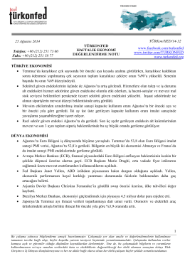 Haftalık Ekonomi Değerlendirme Raporu – 26.08.2014