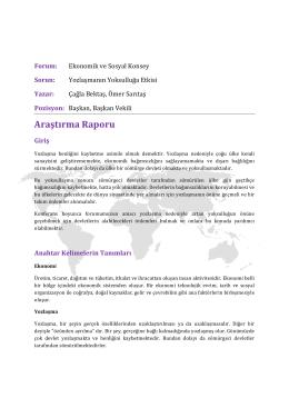 Yozlaşmanın yoksulluğa etkisi - III. Model Birleşmiş Milletler Türkiye