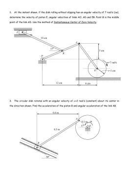 OABDE 10 cm r=3 cm ω=7 rad/s 6 cm 12 cm 37 5 cm 0.4 m 0.5 m 0.1