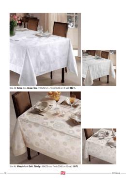 Ürün Adı: Arlina Renk: Beyaz, Ekru • 180x250 cm + Peçete 50x50
