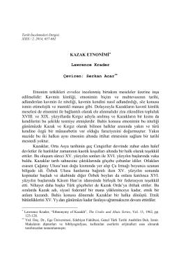 KAZAK ETNONİMİ* Lawrence Krader Çeviren