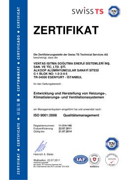 ISO 9001 Swiss TS Onay Belgesi