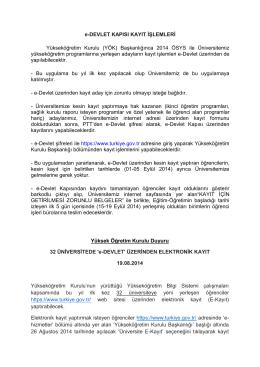 e-DEVLET KAPISI KAYIT İŞLEMLERİ Yükseköğretim Kurulu (YÖK