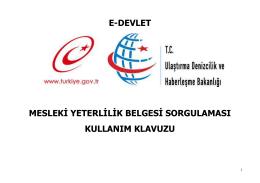 E-DEVLET MESLEKİ YETERLİLİK BELGESİ