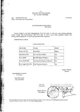 T.e. Komisyonunun asagida adi ve soyadi yazrh personellerden