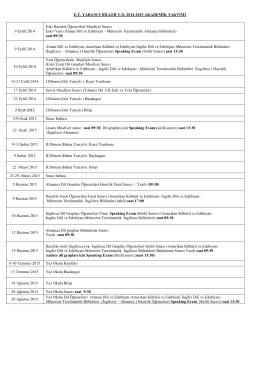 E.Ü. YABANCI DİLLER Y.O. 2014-2015 AKADEMİK TAKVİMİ 9 Eylül