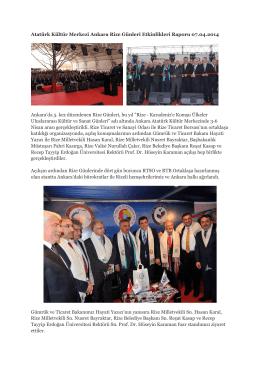 Atatürk Kültür Merkezi Ankara Rize Günleri Etkinlikleri Raporu 07.04