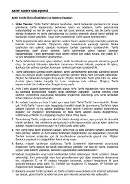 Arife Tarife Sözleşmesi ve Bilgilendirme Formu