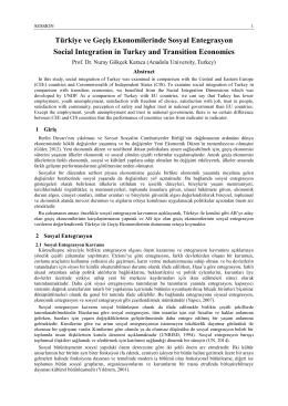 Türkiye ve Geçiş Ekonomilerinde Sosyal Entegrasyon Social