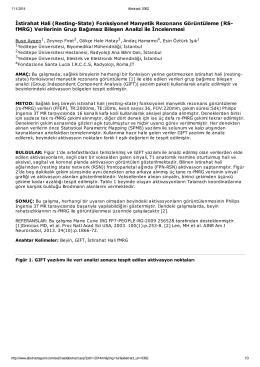 İstirahat Hali (Resting-State) Fonksiyonel Manyetik