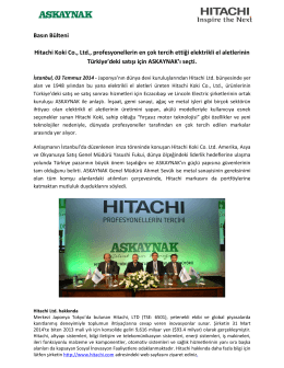 Basın Bülteni Hitachi Koki Co., Ltd