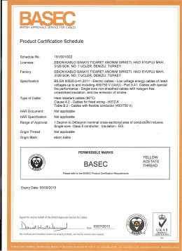 Page 1 BRITISH APPROVALS SERVICE FOR CABLES Product