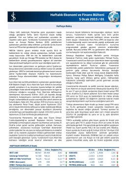 Haftalık Ekonomi ve Finans Bülteni 5 Ocak 2015
