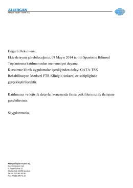 09 Mayıs 2014 tarihli Spastisite Bilimsel Toplantısı ajandasına