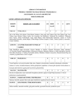 TDB 101 TÜRK DİLİ-I Z 2 2 0 2 - Tirebolu Mehmet Bayrak Meslek