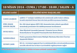 18 NİSAN 2014 - CUMA / 17:00 - 18:00 / SALON