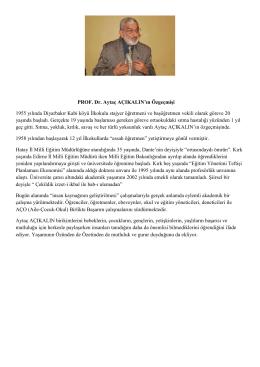 Prof.Dr. Aytaç Açıkalın Özgeçmişi