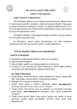 tatil önerileri - TED Antalya Koleji