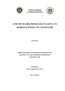 Anne Biyolojik Örnekleri, Plasenta ve Kordon Kanında Civa Düzeyleri