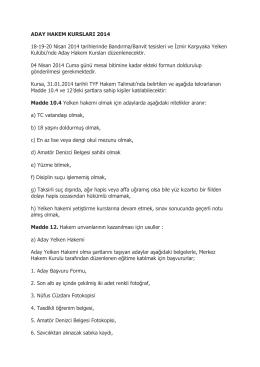 ADAY HAKEM KURSLARI 2014 18-19