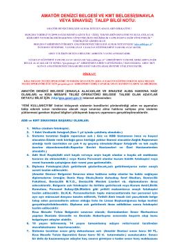 amatör denizci belgesi ve kmt belgesi(sınavla veya sınavsız)