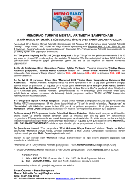 Memoriad 2014 Detaylı Basın Bülteni (PDF)